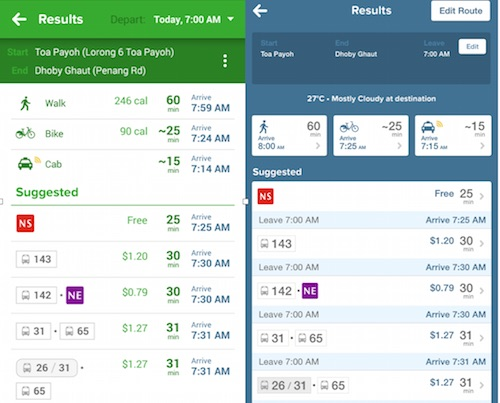 fare calculator in the app for all journeys citymapper